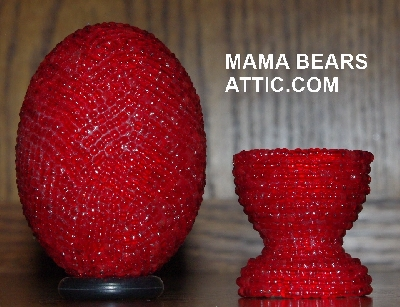 "MBA #4242-1610  ""Transparent Ruby Red Glass Seed Bead Egg & Matching Egg Cup"""