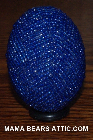 "MBA #4242-1620  ""Metallic Blue Glass Seed Bead Egg & Matching Egg Cup"""