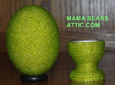 "MBA #4242-1625  ""Luster Lime Green Glass Seed Bead Egg & Matching Egg Cup"""
