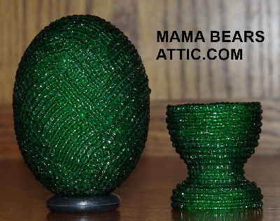 "MBA #4242-1680  ""Green Glass Seed Bead Egg With Matching Egg Cup"""