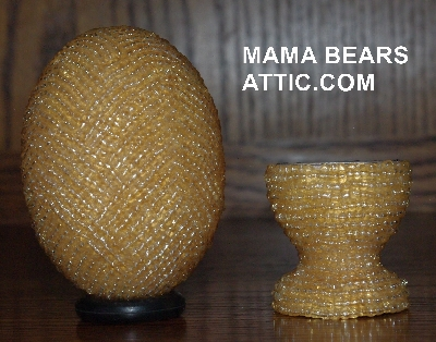 "MBA #4242-1664  ""Luster Amber Glass Seed Bead Egg With Matching Egg Cup"""