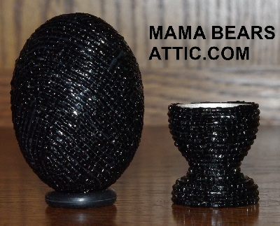 "MBA #4242-1670  ""2 Cut Black Glass Seed Bead & Matching Egg Cup"""
