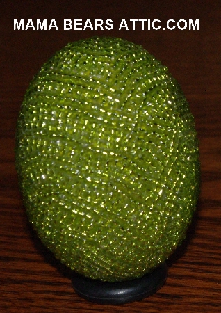 "MBA #4242-1691  ""Silver Lined Lime Green Glass Seed Bead Egg With Matching Egg Cup"""