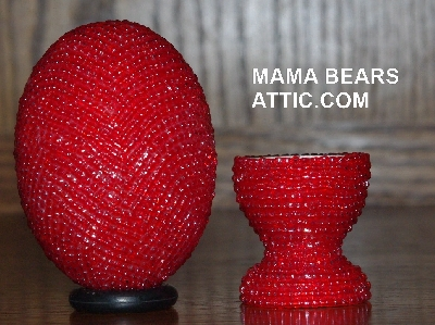 "MBA #4242-1616  ""Transparent Luster Red Glass Seed Bead Egg With Matching Egg Cup"""