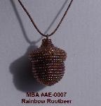 "MBA #AE3-007  ""Rainbow Rootbeer Glass Beaded Acorn Pendant"""