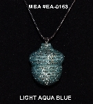 "MBA #EA-0168  ""Light Aqua Blue Glass Seed Bead Acorn Pendant"""
