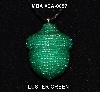 "MBA #EA-0057  ""Luster Green Glass Seed bead Acorn Pendant"""