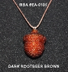 "MBA #EA-0105  ""Dark Rootbeer Brown Glass Seed Bead Acorn Pendant"""