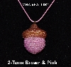 "MBA #EA-0097  ""Brown & Pink Glass Seed Bead Acorn Pendant"""