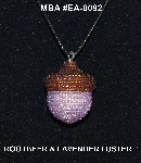 "MBA #EA-0092  ""Brown & Luster lavender Glass Seed Bead Acorn Pendant"""