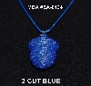 "MBA #EA-0124  ""2 Cut Blue Glass Seed Bead Acorn Pendant"""