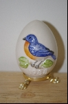 1988 Gobel Blue Bird Egg With Attached Stand