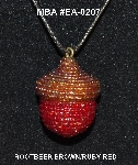 "MBA #EA-207  ""Rootbeer Brown & Ruby Red Glass Seed Bead Acorn Pendant"""