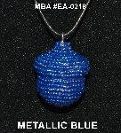"MBA #EA-218  ""Metallic Blue Glass Seed Bead Acorn Pendant"""