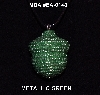 "MBA #EA-148  ""Metallic Green Glass Seed Bead Acorn Pendant"""
