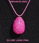 "MBA #AE3-0003  ""Silver Lined Pink Glass Seed Bead Egg Pendant"""