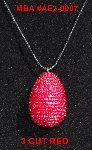 "MBA #EA3-0009  ""3 Cut Red Glass Seed Bead Egg Pendant"""
