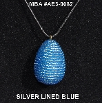 "MBA #AE3-0082  ""Silver Lined Blue Glass Seed Bead Egg Pendant"""