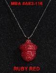 "MBA  #AE3-116  ""Ruby Red Glass Seed Bead Acron Pendant"""