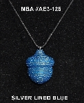 "MBA #AE3-125  ""Silver Lined Blue Glass Seed Bead Acron Pendant"""