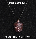 "MBA #AE3-142  ""2 Cut Dark Brown Glass Seed Bead Acorn Pendant"""