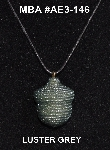 "MBA #AE3-146  ""Luster Grey Glass Seed Bead Acorn Pendant"""