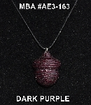 "MBA #AE3-163  ""Dark Purple Glass Seed Bead Acorn Pendant"""