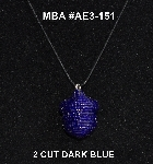 "MBA #AE3-151  ""2 Cut Dark Blue Glass Seed Bead Acorn Pendant"""