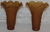 "+MBA #AE3-181  ""Set Of 2  Amber Tiffany Style Pond Lilly Glass Shades"""
