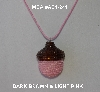 "MBA #AC1-241  ""Dark Brown & Light Pink Glass Seed Bead Acorn Pendant"""