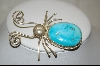 "**  MBA #S19-1861  ""Artist Signed Blue Turquoise Beetle Pin/Pendant"