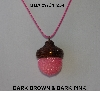 "MBA #AC1-234  ""Dark Brown & Dark Pink Glass Seed Bead Acorn Pendant"""