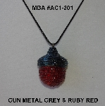 "MBA #AC1-201  ""Gun Metal Grey & Ruby Red Glass Bead Acorn Pendant"""