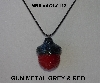 "MBA #AC1-113  ""Gun Metal Grey & Red Glass Seed Bead Acorn Pendant"""