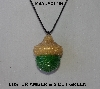 "MBA #AC1-166  ""Luster Amber & 2 Cut Green Glass Seed Bead Acorn Pendant"""