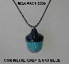 "MBA #AC1- 0089  ""Gun Metal Grey & Sky Blue Glass Seed Bead Acorn Pendant"""