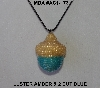 "MBA #AC1-173  ""Luster Amber & 2 Cut Sky Blue Glass Seed Bead Acorn Pendant"""