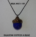 "MBA #AC1-155  ""Rainbow Copper & Dark Blue Glass Seed Bead Acorn Pendant"""