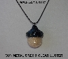 "MBA #AC1-117  ""Gun Metal Grey & Clear Luster Glass Seed Bead Acorn Pendant"""