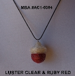 "MBA #AC1-0084  ""Clear Luster & Ruby Red Glass Seed Bead Acorn Pendant"""