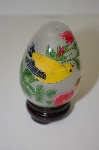 **Vintage Asian Hand Painted Yellow Bird Egg