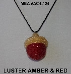 "MBA #AC1-124  ""Amber Luster & Red Glass Seed Bead Acorn Pendant"""