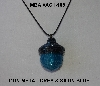 "MBA #AC1-108  ""Gun Metal Grey & Blue satin Glass Bead Acorn Pendant"""