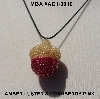 "MBA #AC1-0016  ""Luster Amber & Cranberry Pink Glass Seed Bead Acorn Pendant"""