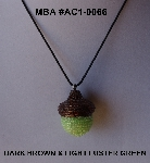 "MBA #AC1-0066  ""Dark Brown & Light Luster Green Glass Seed Bead Acorn Pendant"""
