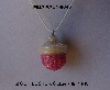 "MBA #AC1-0045  ""Clear Luster & Pink Glass Bead Acorn Pendant"""