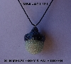 "MBA #AC1-131  ""Gun Metal Grey & Pale Green Glass Seed Bead Acorn Pendant"""
