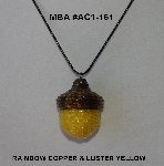 "MBA #AC1-161  ""Rainbow Copper & Luster Yellow Glass Seed Bead Acorn Pendant"