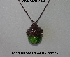 "MBA #AC1-0056  ""Luster Brown & Satin Green Glass Seed Bead Acorn Pendant"""