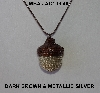 "MBA #AC1-0049  ""Dark Brown & Metallic Silver Glass Seed Bead Acorn Pendant"""
